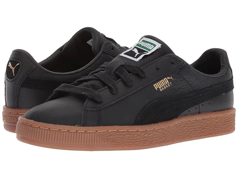 Puma Kids Basket Classic Gum Deluxe (Big Kid) (Puma Black/Puma Black) Kids Shoes