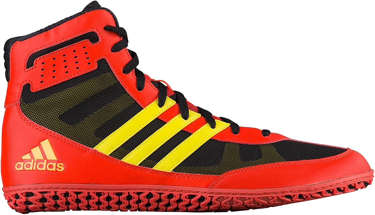Adidas Mat Wizard Mens Wrestling shoes, Energy Red Yellow Black, Size 12.5