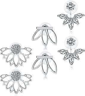 3 Pairs Lotus Flower Earrings Jackets For Women Girls Simple Chic Ear Stud Earrings Silver