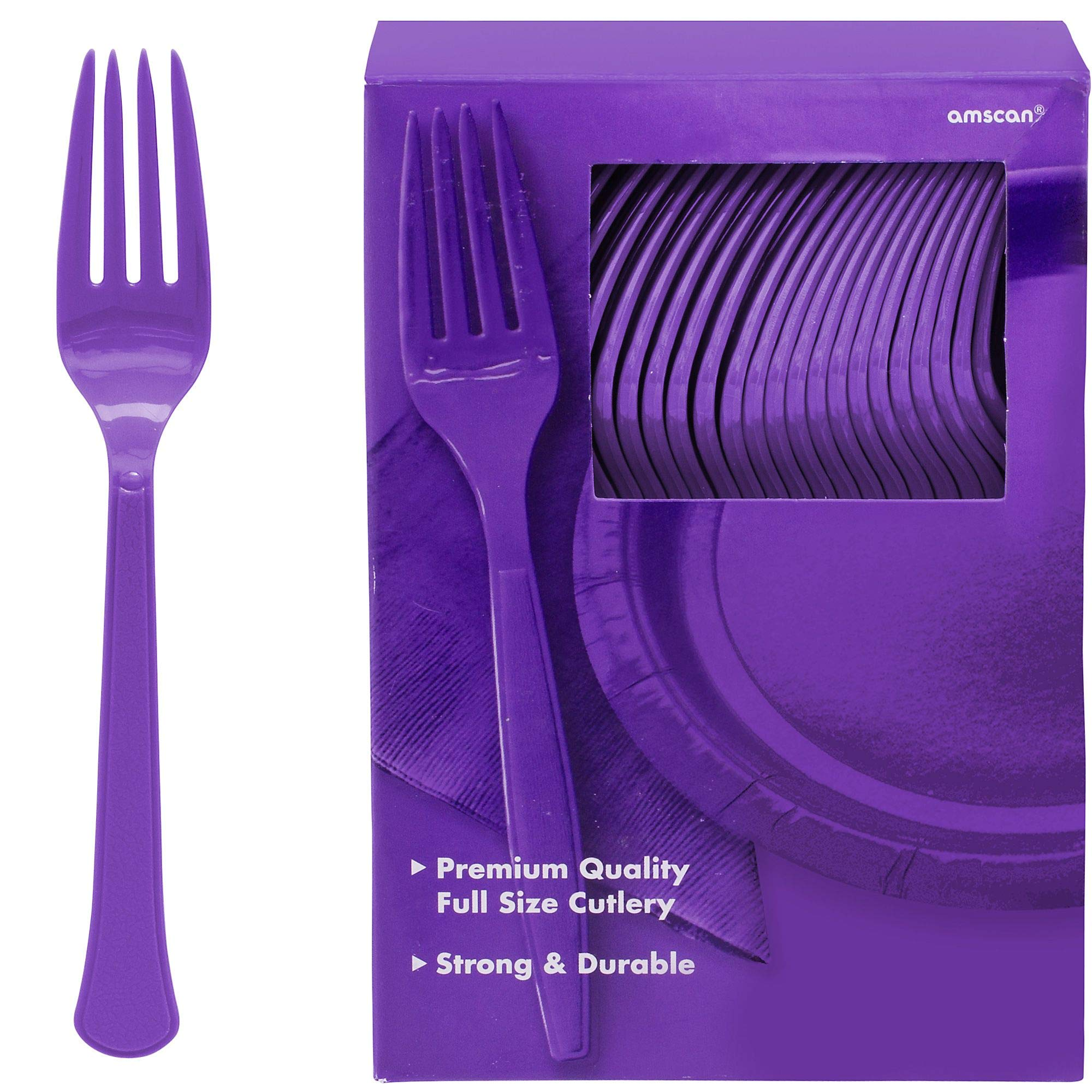 Silver 7.3 x 5.2 Amscan 43600.18 Party Supplies Big Pack Premium Plastic Forks 100 ct