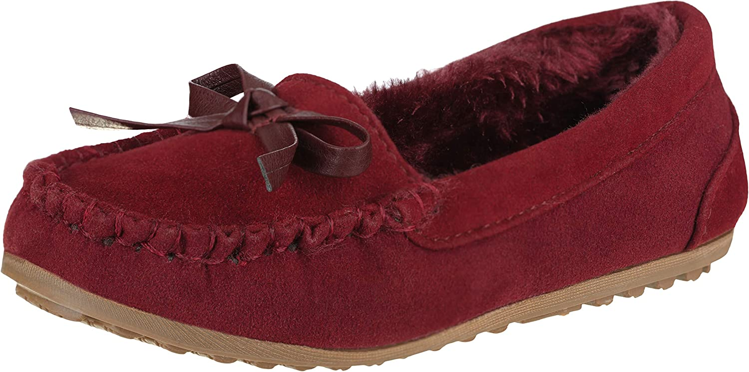 CLOVERLY Girls Kids Moccasin Slippers Suede Free shipping anywhere in the nation Vegan Leather Deluxe Moccas