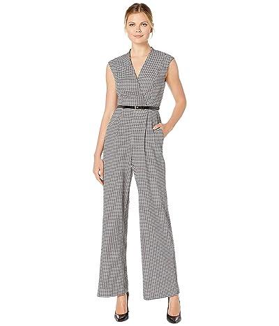 Calvin Klein Belted Plaid Jumpsuit (Black/Cream) Women