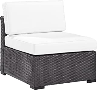 Crosley Furniture KO70125BR-WH Biscayne Outdoor Wicker Armless Chair, Brown with White Cushions
