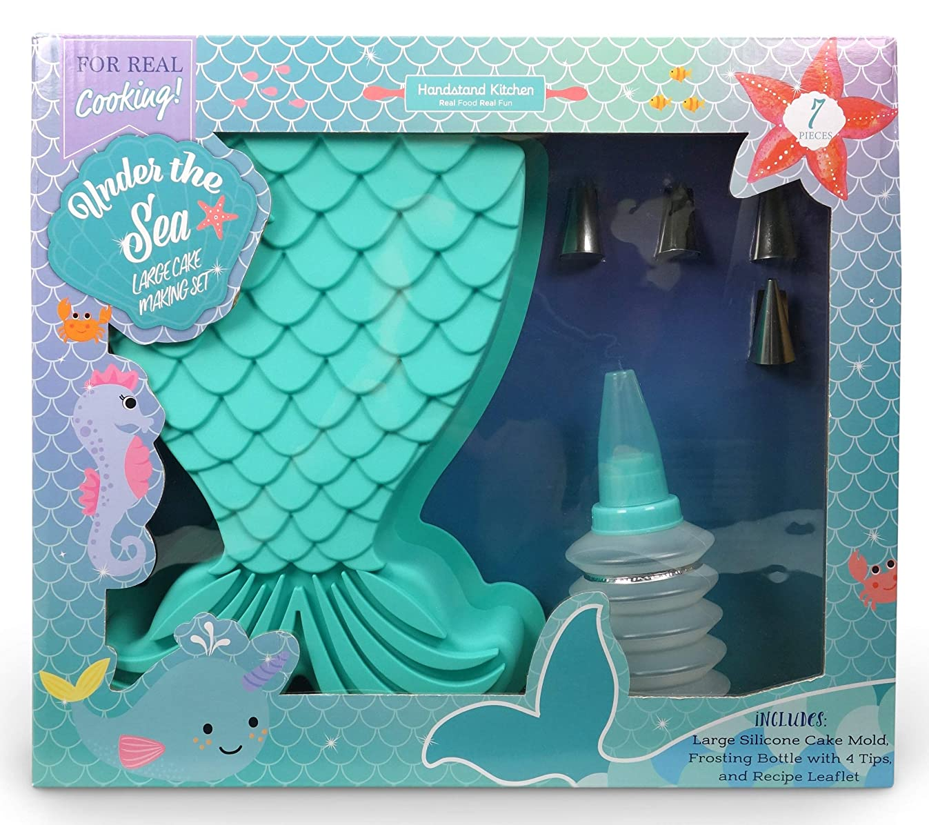 Handstand Kitchen Under the Sea 7-piece Real Mermaid Tail Shaped Cake Baking Set with Recipes for Kids