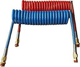 COILED AIR SET LINE ASSEMBLY RED & BLUE TRUCK TRAILER BRAKE COIL SET, 15' LENGTH; 2 X 12