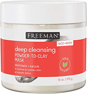 Bentonite and Kaolin Clay Mask Skincare Powder by Freeman, Face and Body Mask for Deep Cleansing