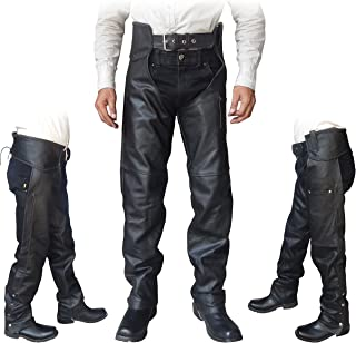 4Fit Unisex Braided Black Leather Biker Motorcycle Chaps New All Sizes (Large)