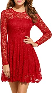 red lace cocktail dress long sleeve