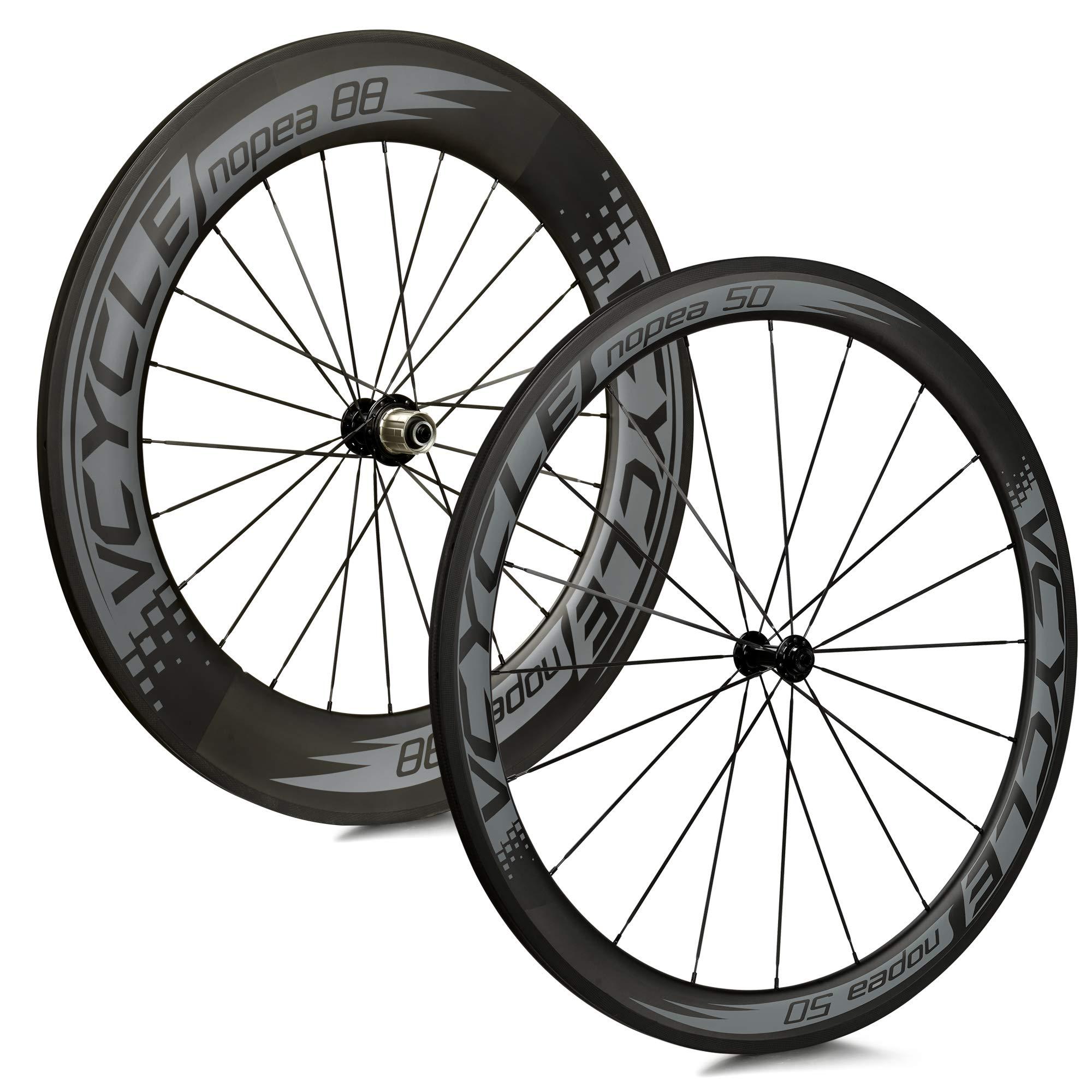 VCYCLE Nopea Carbono Ruedas de Bicicleta de Carretera 700C Tubular Delantero 50mm Posterior 88mm Shimano o Sram 8/9/10/11 Velocidades: Amazon.es: Deportes y aire libre