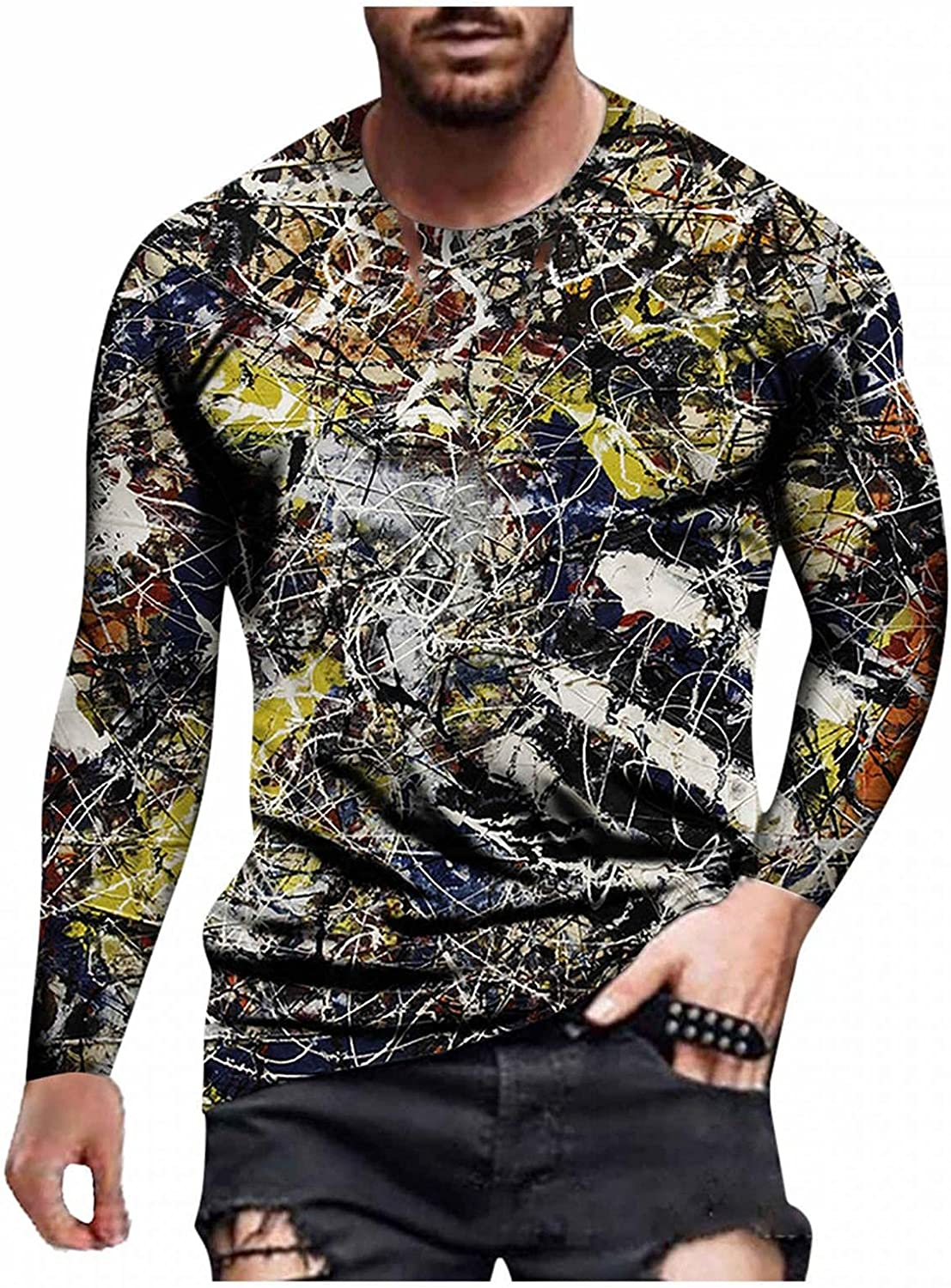 Aayomet T Shirts for Men Vintage Printed Long Sleeve Round Neck T-Shirt Casual Sport Workout Athletic Tee Tops Shirts