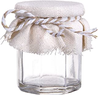 Darice Victoria Lynn Jar Favors: Clear Glass with Fabric Tops, 1.5 x 2 Inches, Set of 18