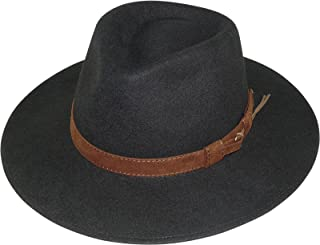 Harrys-Collection Rollable Hat with Wide Brim Brown Fabric Ribbon in 3 Colours!