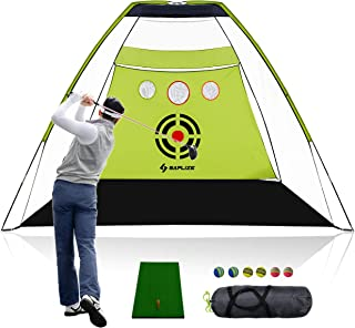 SAPLIZE Golf Nets 10 x 7ft + Hitting Mat Bundle, Practice net with Chipping Holes, Available for Outdoor/Indoor/Backyard Driving