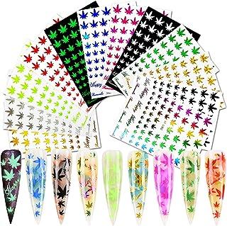 برچسب های هنری ورق ناخن 12 برگه گلدان پلاستیکی برچسب های ناخن برگ چسب افراشتی ناخن های هنری برچسب های ناخن پاییز ناخن براق تکه های پاییز لوازم ناخن طرح برگ های علف های هرز رنگی برای ناخن DIY