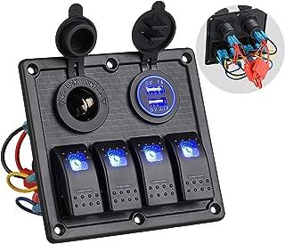 Linkstyle 4 Gang Car Marine Boat LED Toggle Rocker Switch Panel, 12V Dual USB Car Socket Charger Socket Power Outlet & Cigarette Lighter Socket Splitter Adapter & Marine Switch Panels for Trucks RV
