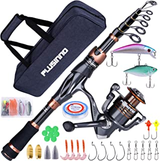 PLUSINNO Fishing Rod and Reel Combos - Toray 24-Ton Carbon Matrix Telescopic Fishing Rod Pole - 12 +1 Shielded Bearings St...