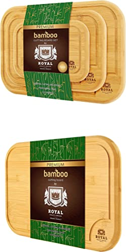 """discount Bamboo outlet online sale Cutting sale Board with Juice Groove (4-Piece) and EXTRA LARGE Bamboo Cutting Board (18"""" x 12"""") by Royal Craft Wood sale"""