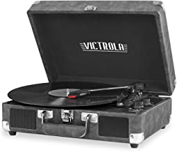 Victrola Vintage 3-Speed Bluetooth Suitcase Turntable with Speakers, Gray