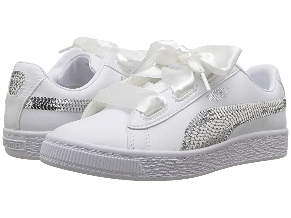 Puma Kids Basket Heart Bling PS (Little Kid) (Puma White/Puma Silver) Girl