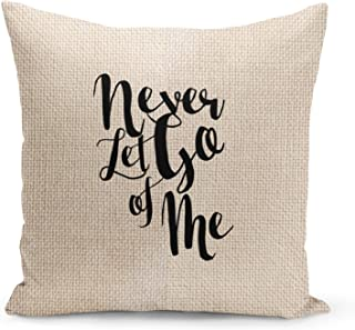 Love Never let go Beige Linen Pillow with Black Foil Print Love Quote Couch Pillows