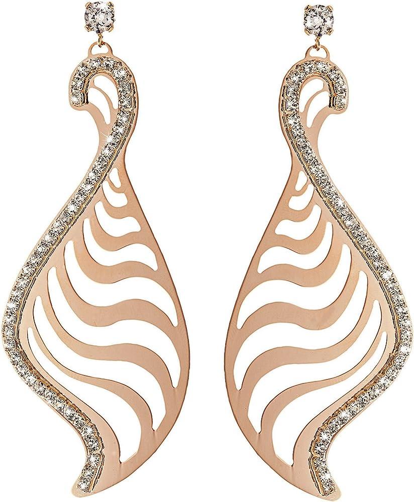 Stroili - orecchini pendenti  per donna in metallo rosato lucido e cristalli  - kalahari 1602941