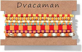 Dvacaman 3-7 قطع البوهيمي المينا مطرز أساور قابلة للتكديس مجموعة للنساء وعد سوار للأزواج أساور متعددة الألوان