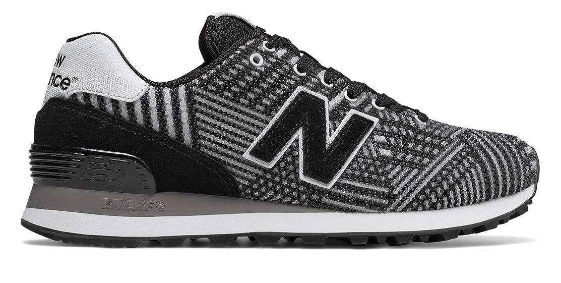 便宜ヒットモンスター(ニューバランス) New Balance 靴?シューズ レディースライフスタイル 574 Beaded Black with White ブラック ホワイト US 8.5 (25.5cm)