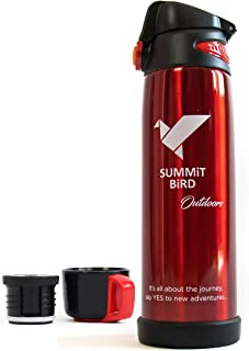 Summit Bird Outdoors Metal Water Bottle, Stainless Steel, Insulated, Leak Proof, Sweat Free, 2 Lids with Carry Handle - EasyLock Flip Top & Pour in Cup Thermos Water Bottle Cap - 27 oz / 800 ml