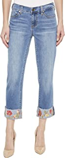 Liverpool Womens Josie Embroidered Wide Cuff Capris in Vintage Super Comfort Stretch Denim in Bridgeport