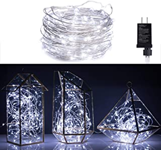 40Ft 120 LED Fairy Lights Waterproof Starry Firefly String Lights Plug in on Silver Coated Copper Wire Perfect for Christmas Party DIY Wedding Bedroom Indoor Party Decorations, Pure White