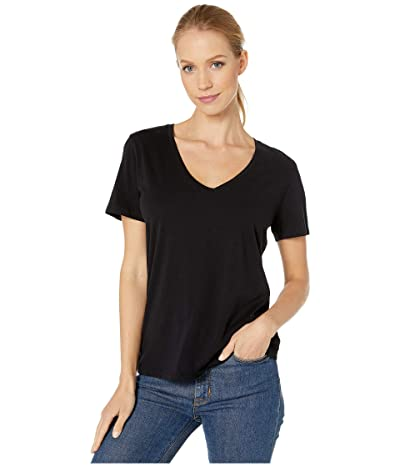 Majestic Filatures Cotton Silk Touch Short Sleeve V-Neck Tee (Noir) Women