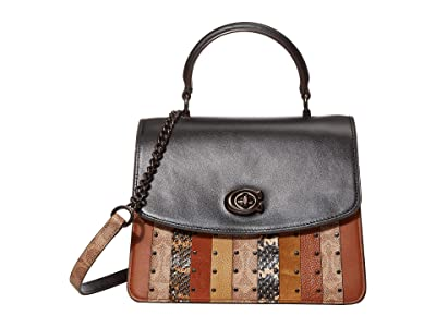COACH Parker Top-Handle (Tan Black Multi/Pewter) Handbags
