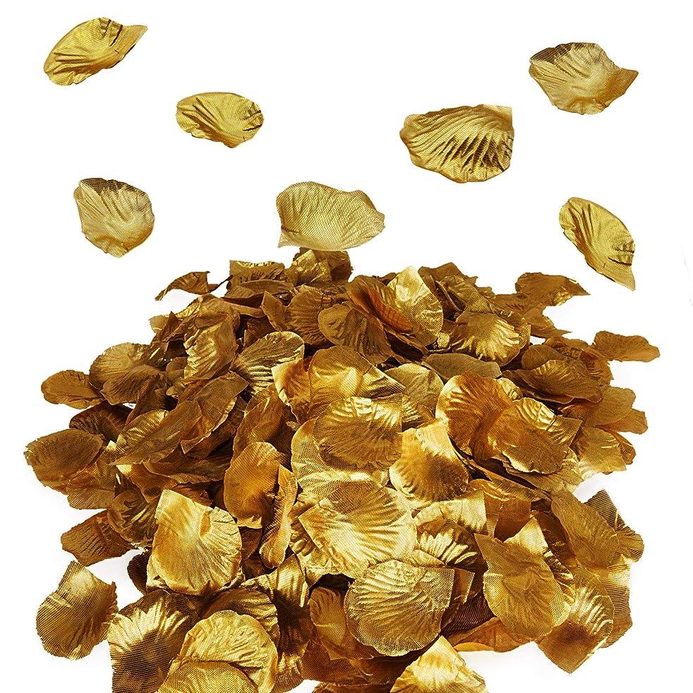 Royal Imports Metallic Gold Silk Flower Artificial Rose Petals for Wedding Aisle, Party Favor & Table, Vase, Home Decoration, 1000 PCS