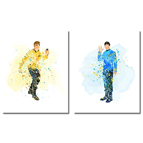 Star Trek Watercolor Prints - Set of two 8x10 Poster Photos - Captain James Kirk and