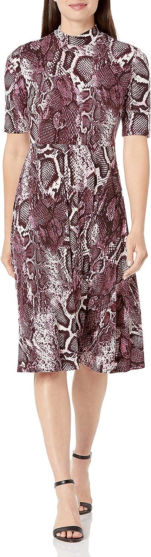 Donna Morgan Women's 3/4 Sleeve Mock Neck Snake Print Matte Jersey Dress