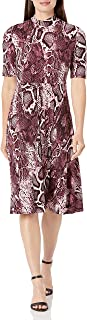 Donna Morgan womens 3/4 Sleeve Mock Neck Snake Print Matte Jersey Dress Dress