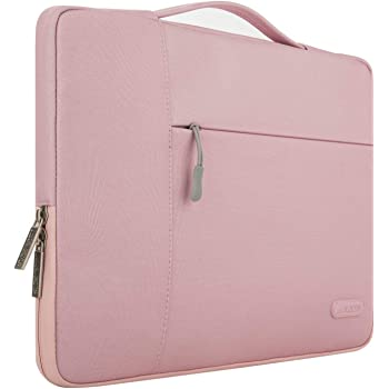 MOSISO Laptop Sleeve Compatible with MacBook Pro 16 inch, 15 15.4 15.6 inch Dell Lenovo HP Asus Acer Samsung Sony Chromebook,Polyester Multifunctional Briefcase Bag, Pink