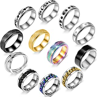 Sponsored Ad - 9/12pcs Stylish Stainless Steel Spinner Ring Set for Men for Anti Anxiety - Fidget Ring for Anxiety for Wom...