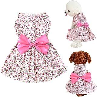 Brocarp Dog Dress- Puppy Floral Princess Dresses, Dog Dress Bowknot Tutu Skirt, Thin Cute Pet Summer Clothes Apparel for S...