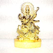 Sarasvati Idol for Decoration and Pooja Metal Statue Sculpture Golden Dimensions 3.0 x4.0 INCH