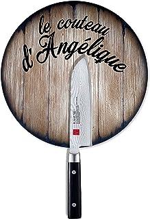 Couteau de chef Santoku avec porte-couteau magnétique personnalisé inspiré des vieux tonneaux de vin, couteau de Damas jap...