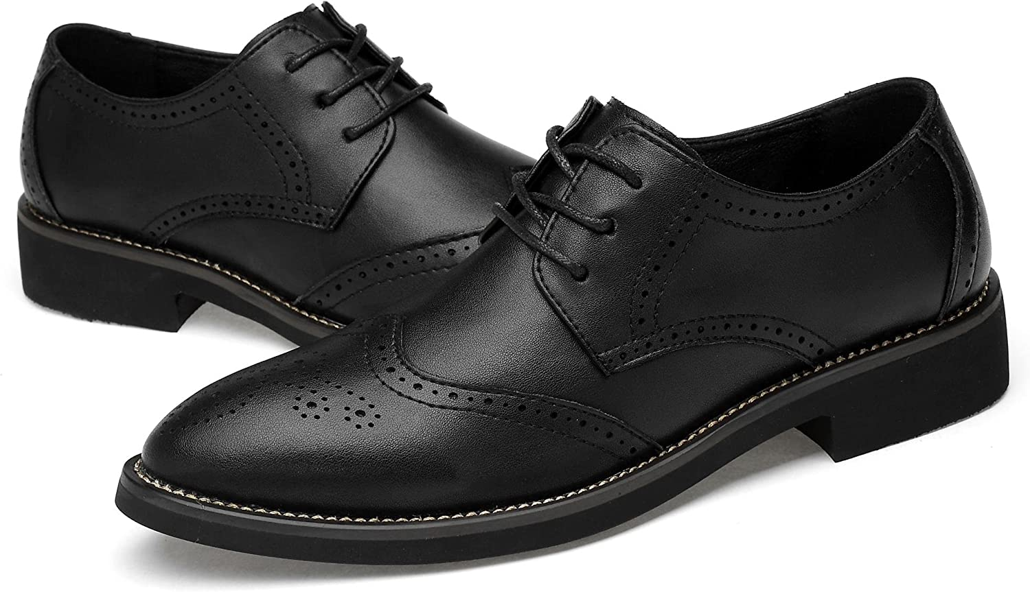 KEEPwhiteE Men's Modern Leather Bullock shoes Lace-up Oxfords with Hollow Carved Design
