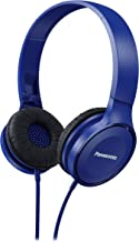 PANASONIC Lightweight Headphones with Microphone, Call Controller and 3.9 ft Audio Cord Compatible with iPhone, BlackBerry, Android - RP-HF100M-A - On-Ear Headphones (Blue)
