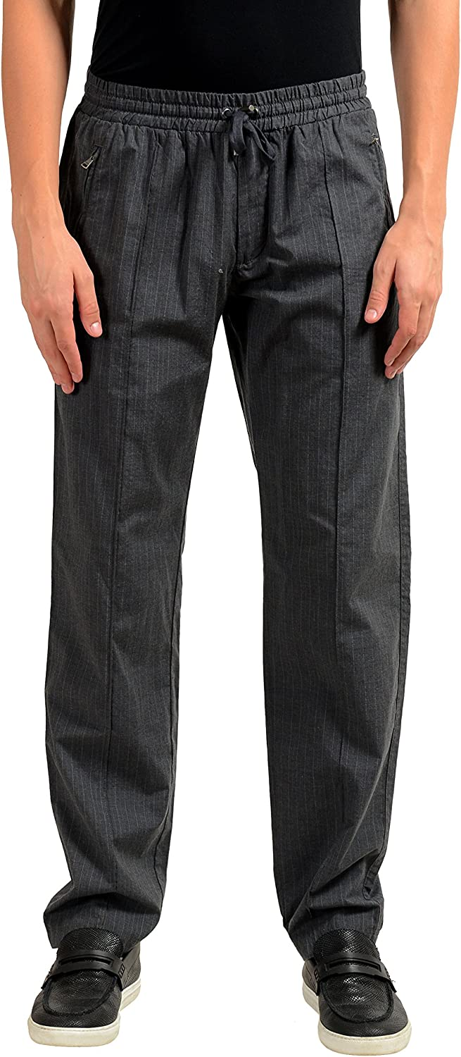 Dolce Gabbana In a popularity Men's Gray Striped Casual Pants US Elastic Houston Mall Waist