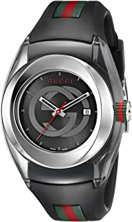 SYNC L Stainless Steel Watch with Black Rubber...