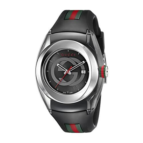 978ff2c4436 Gucci SYNC L Stainless Steel Watch with Black Rubber Band(Model YA137301)