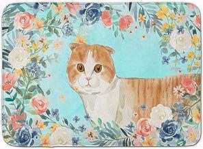 Caroline's Treasures Scottish Fold Spring Flowers Machine Washable Memory Foam Mat doormats, Multicolor