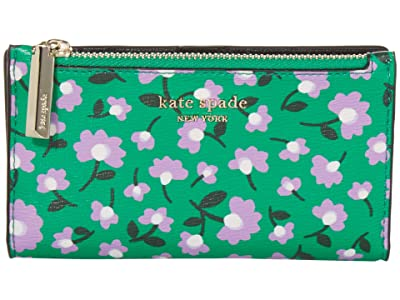 Kate Spade New York Spencer Party Floral Small Slim Bifold Wallet (Green Multi) Wallet