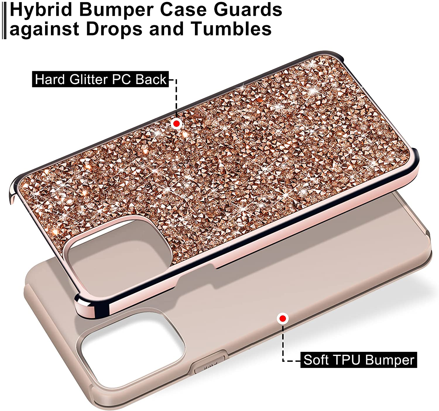HoneyAKE Compatible with iPhone 13 Pro Case Glitter Rhinestone Bling Diamond Case for Girls Women Shockproof Handmade Dual Layer Bumper Anti-Slip Protective Cover for iPhone 13 Pro 6.1 inch Rose Gold