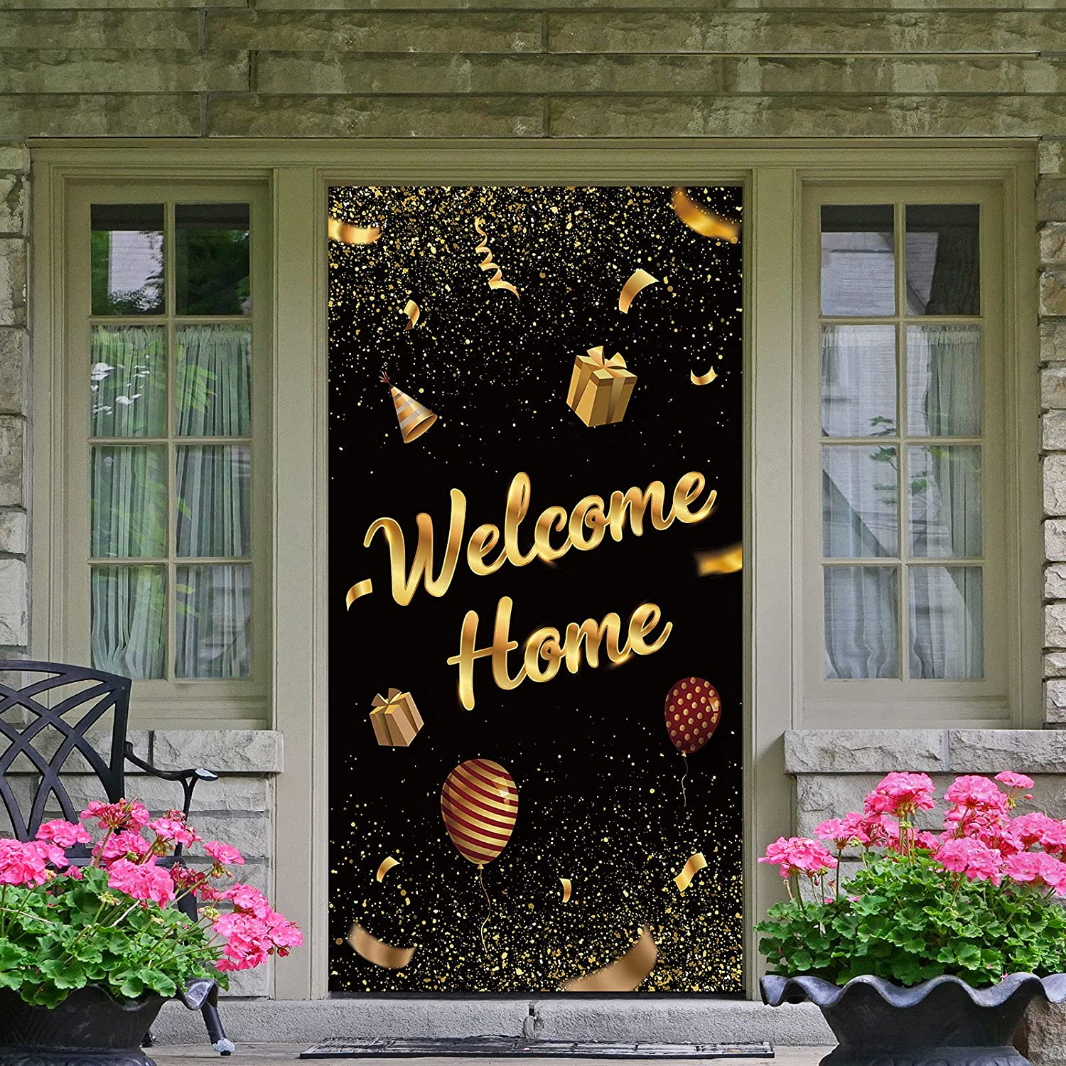 Dill-Dall Welcome Home Door Banner, Housewarming Patriotic Military Decorations, Family Party Supplies, Welcome Back Photo Props